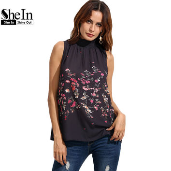 SheIn Womens Tops and Blouses For Summer Ladies 2016 Fashion Multicolor Floral Print High Neck Sleeveless Blouse