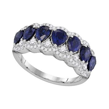 18kt White Gold Womens Pear Blue Sapphire Diamond Band Ring 2-3-4 Cttw
