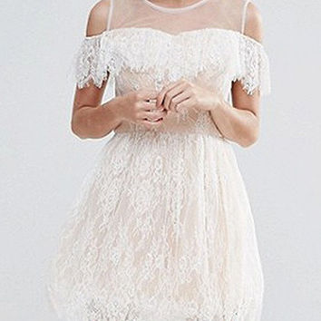 White Cold Shoulder Sheer Panel Ruffle Trim Lace Mini Dress