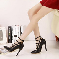 Black Multi Straps Design Black Heels