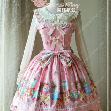 Sweet Bear Print Knot Lace Cotton Magic Tea Party Lolita Dress