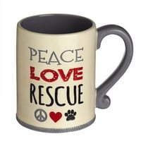 Peace Love Rescue - Paw Animal Pet Lover - Jumbo 14-oz Ceramic Coffee Tea Mug