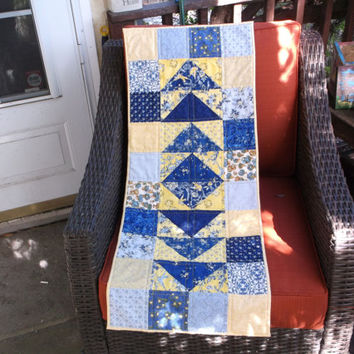 Blue and yellow flying geese quilted table runner summer runner