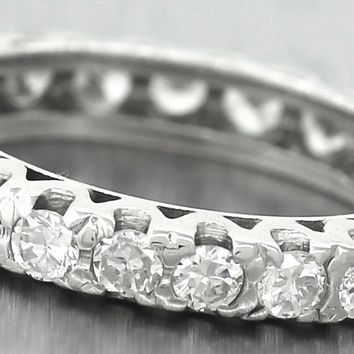 $1950 Vintage Ladies 14K White Gold 1.70ctw Diamond Eternity Wedding Band Ring