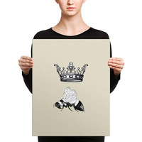 Queen Bee Canvas Wrap -  saucy gift for her, crown, bee, beige