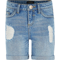 River Island Girls mid wash ripped denim shorts