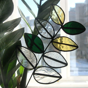 Stained glass plant Green leaves Decoration for vases Tiffany flower Handmade branch Home decor