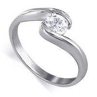 Sterling Silver Round Shape 5mm Clear CZ Solitaire Polish Finish 3mm Wide Band Promise Ring Size 5 to 9