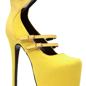 Sky High Mellow Yellow Platform Heels