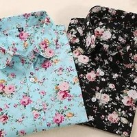 Blouse Turn Down Collar Floral Blouse Long Sleeve Shirt
