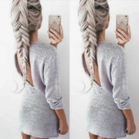 Fashion Casual Solid Color Backless Long Sleeve Knit Sweater Mini Dress