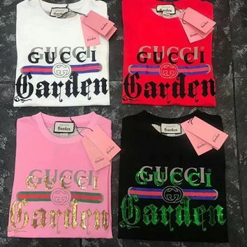 gucci museum series fashion loose short sleeve t shirt