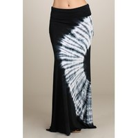 Black Tye Dye Maxi Skirt