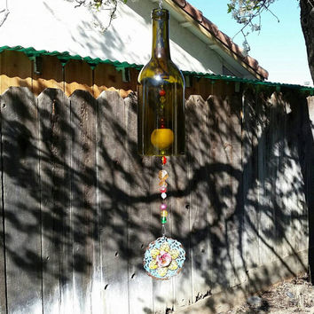 Whimsical Upcycled Wine Bottle Wind Chime/Repurposed Bottle Garden Art/Recycled Winery Beaded Wine Bottle/Sun Catcher Wine Art