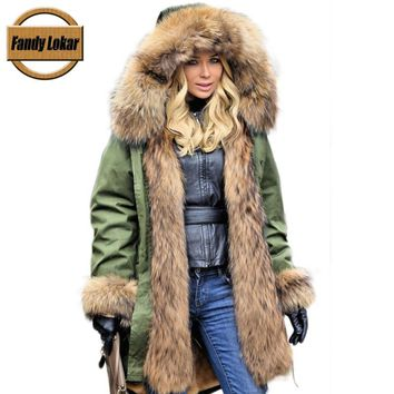 Fandy Lokar Real Fur Parka Winter Women Jacket Warm Long Military Parka Real Rex Rabbit Fur Lining Hood Coat Genuine Raccoon Fur