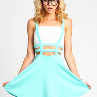 Mint Lattice Suspender Skirt