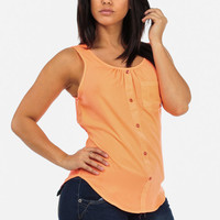 Coral Sleeveless Blouse With Front Pocket