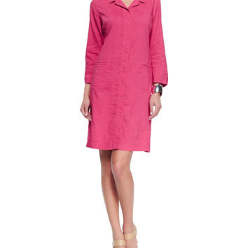 Linen Viscose Stretch Shirtdress, Gingerpink, Petite, Size: