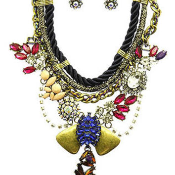 NECKLACE AND EARRING SET / BOHEMIAN STYLE / BIB / HOMAICA / AURORA / CRYSTAL STONE / AGED FINISH METAL / INTERTWINED THREAD / ROPE CORD / FAUX SNAKE SKIN / MULTI STRAND / LINK / CHAIN / POST PIN / 14 INCH LONG / 5 INCH DROP / NICKEL AND LEAD COMPLIANT
