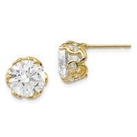 10k Yellow Gold Tiara Collection Round CZ Crown Set Post Earrings