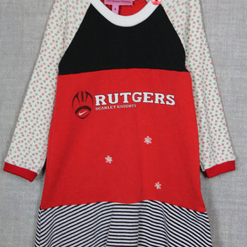 Upcycled Rutgers Tshirt Dress, Recycled Rutgers Tshirt Dress Size 4 Repurposed Rutgers Scarlet Knights Tshirt Dress, Rutgers Football TShirt