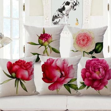 Free Shipping Custom 2017 New Rose Flowers Printing Cotton Linen Backrest Pillow Living Room Chair Seat Cushion