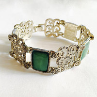 Fabulous Highly Decorative Marcasite and Green Lucite Panel Bracelet, Sparkling Marcasite Art Deco Style, Soft Green