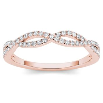 De Couer 10k Rose Gold 1/6ct TDW Diamond Criss-Cross Ring (H-I, I2) | Overstock.com Shopping - The Best Deals on Diamond Rings