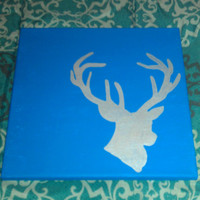Oh Deer  12x12 deer silhouette painting by SamanthiaByDesign