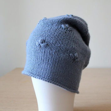 Cashmere and silk beanie hat, Gray Blue embellished hat, Knit beanie cap, Flower floral hat, Slouchy beanie, Swarovski crystal hat
