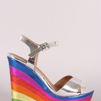Qupid Multi Metallic Open Toe Platform Wedge