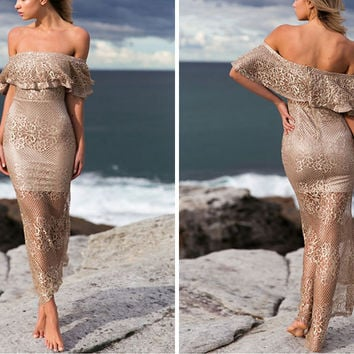 ♡ Sexy Off Shoulder Mermaid Dress Ruffle Lace Dress ♡