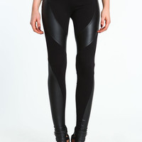 FAUX LEATHER RIBBON LEGGINGS