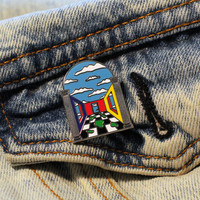 DREAM SCENE • Series 1 enamel cloisonné Pin • Art Deco •  Memphis Milano style  • primary colors  • checkerboard • Pop Art