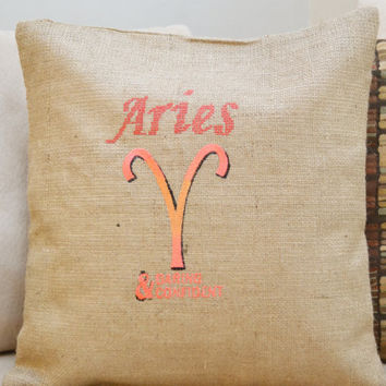 Aries Burlap Cushion Cover - Zodiac Gift - Birthday Gift - BirthSign Gift - Tropical Sign- Astrological Gift - Astrology - Mother's Day Gift