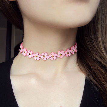 New fashion jewelry flower leather choker necklace mix color  gift for women girl N1804