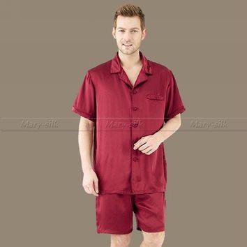 Summer Mens Silk Satin Pajamas Set  Pajama Pyjamas PJS Set  Sleepwear Lounge Wear  U.S.S~4XL Plus  Short Sleeves Solid