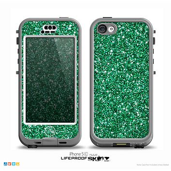 The Green Glitter Print Skin for the iPhone 5c nüüd LifeProof Case