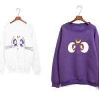 Harajuku Kawaii Sweater Sailor Moon LUNA Cat Winter Warm Sweater Sweatshirt New