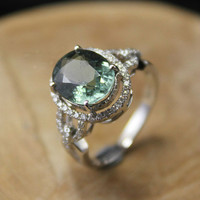 2 Carat Green Tourmaline Engagement Ring, Diamonds, 14K White Gold