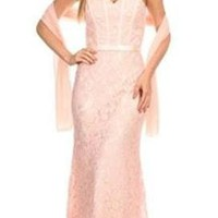 Eva Kind Of Love Blush Pink Lace Strapless Maxi Dress