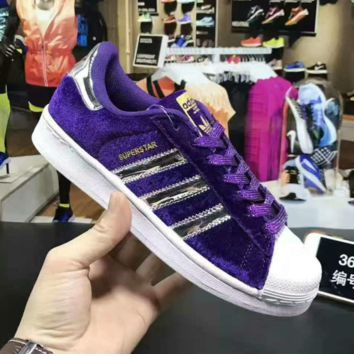 """ADIDAS"" Trending Fashion Casual Sports Shoes Purple golden line"