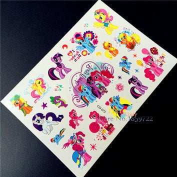 1 Sheet My Little Pony Tattoo Stickers Toys Horse For Children HCG-073 Kids Birthday Party Tatoo poni Paste Decoration Supplies