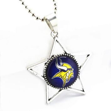 SANGUINE 10pcs/lot Glass Alloy Pendant Minnesota Vikings Football Sports Team Necklace Jewelry With 45cm Silver Beads Chains