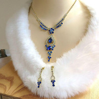 Sapphire Blue Rivoli & Clear Rhinestones Necklace and Dangle Earrings Set Vintage Bridal Wedding Jewelry
