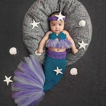 Infant Handmade Wool Knitted Lovely Mermaid Costume Newborn Photo Props Baby Headband+ Bra + Tail Outfits Baby Clothes