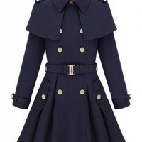 Navy Double Breasted Cape Collar Skirt Hem Woolen Coat S0030