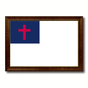 Kayso Christian Religious Military Flag Canvas Print with Brown Picture Frame Home Decor Wall Art Gift Ideas