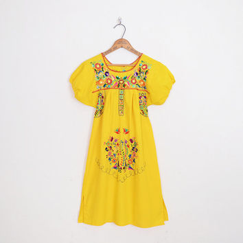 Mexican Dress Mexican Embroider Dress Oaxacan Dress Yellow Mexican Mini Dress 70s Hippie Dress 70s Boho Dress Festival Dress XS Extra Small