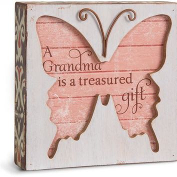 A Grandma is a treasured gift Butterfly Plaque